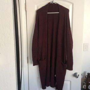 Long maroon cardigan